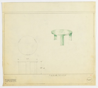 Perspective, plan, and elevation drawing for a green lacquered round table. Three wide legs with rectilinear sides curve to conform to rounded table.