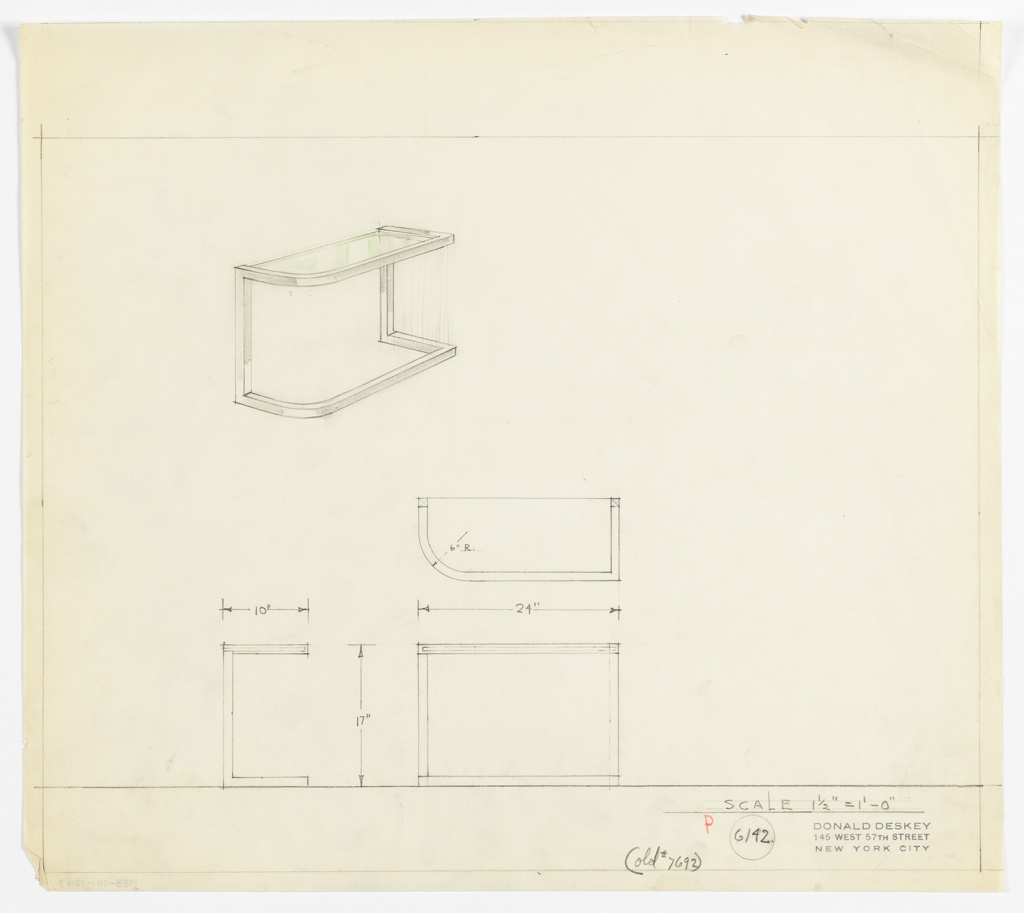 Perspective, plan and elevation drawing of console table. Glass top of table with squared edges in back and front right and rounded front edge in front left. Frame of table is squared tubes of polished chrome (?).
