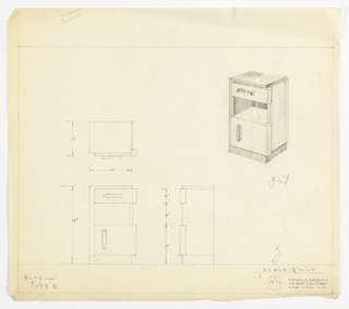 Perspective, plan, and elevation drawing for end table/night table. Rectangular surface and left side of table in darker wood; drawers, shelf, and right side in lighter wood. Small drawer with horizontal rectangular pull, shelf below; larger drawer/cabinet with vertical pull at left. Rounded right side on drawer and cabinet.
