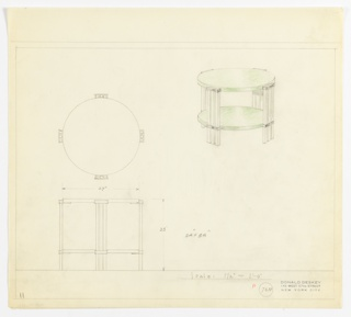 Perspective, plan, and elevation drawing for round end table, probably green lacquer and metal. Circular top and shelf below in green lacquer; four legs, each composed of three squared tubes of metal.