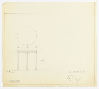 Drawing for a round table with four delicate saber legs and a cornice near top of table with three decorative ridges.