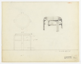 Perspective, plan, and elevation drawing for low round wooden (?) coffee/end table. Open shelf below surface of table; both surfaces supported by four rectilinear legs with rounded top .