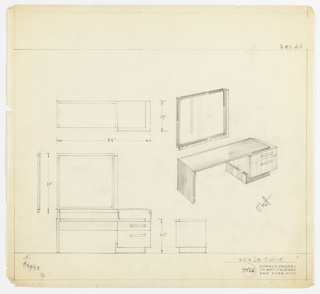 Perspective, plan, and elevation drawing for long rectangular vanity and mirror. Vanity open below on left side; two drawers at right side with rectangular pulls. Drawers in lighter material than surface and legs of table. Mirror above vanity on left side with various framing panels of wood/metal (?).