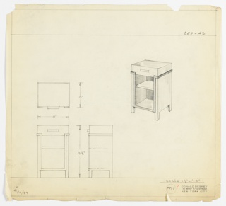 Perspective, plan, and elevation drawing of end table. Rectangular in overall shape, four short legs/feet. Drawer below surface with rectangular pull; two open shelves below. Strip of trim in darker material outlining lower portion of shelves and upper portion of sides.