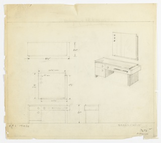 Perspective, plan, and elevation drawing of vanity and mirror. Square mirror wtih partial border on right and bottom sides; three round balls/lights? in upper left corner of mirror. Rectangular vanity below mirror with darker wood (?) on surface of piece, and lighter wood (?) in body of piece. Long drawer at right of vanity, two smaller stacked drawers at left. Drawers at left have round pulls, and drawer at right has rectangular pull.