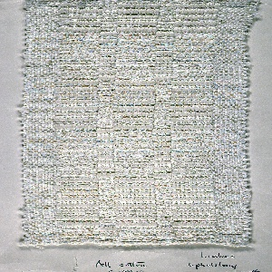 Woven sample mounted to a cardboard card with notations by the designer. White cotton upholstery fabric with block pattern in two textures. Warp is white cotton; weft is same white cotton alternating with a very heavy white cotton. Bands of plain weave at top and bottom of sample; selvage at left and right side.