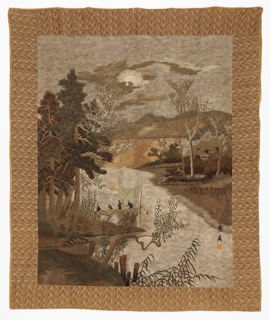 Heavily embroidered hanging shows a fishing scene within a detailed landscape of trees, hills and sky. Printed iris fabric lining on the reverse. Made for export to the Western market.