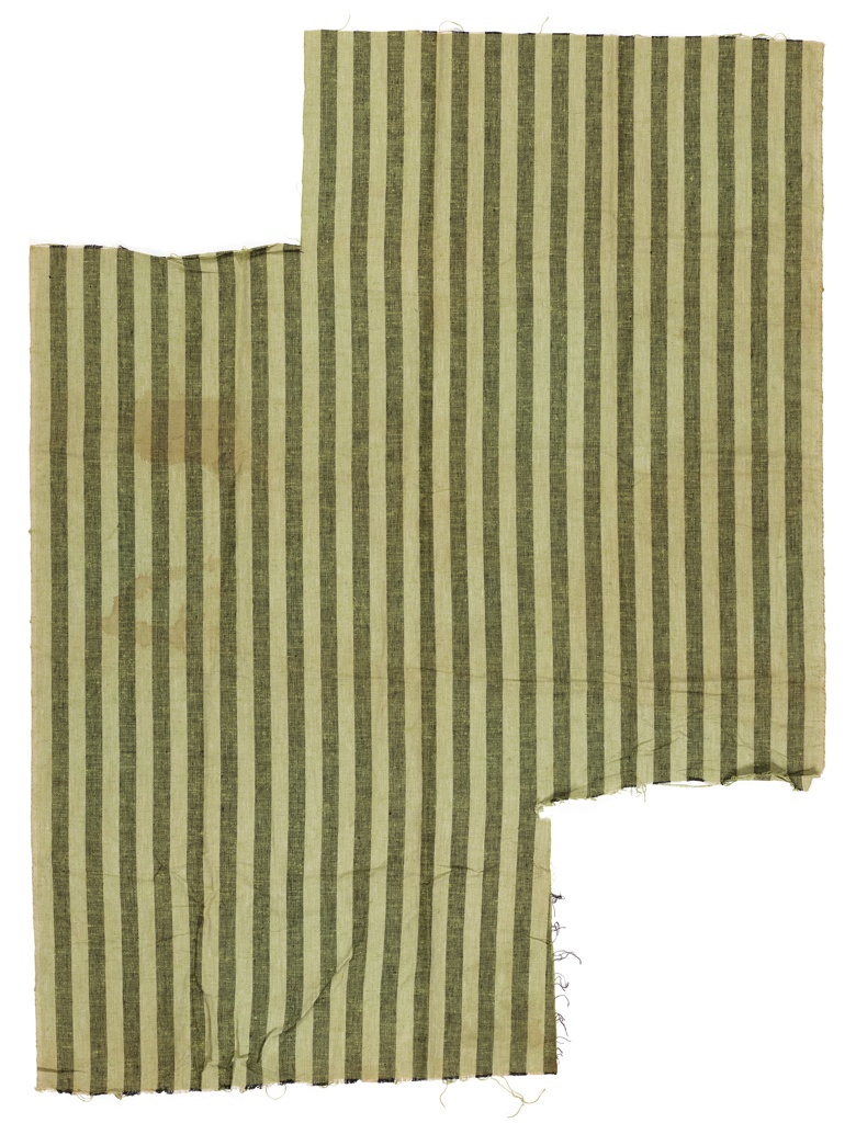 Length of nubby woven fabric has green and black vertical stripes.