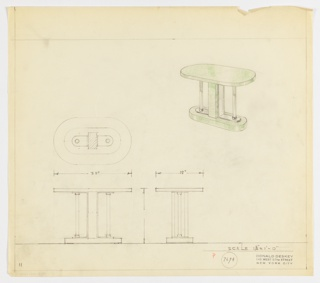 Perspective, plan, and elevation drawing for green lacquered (?) oval console table. Oval surface of table supported by two glass or metal (?) rods on left and right side and one rectangular green lacquer pillar at center. Legs of table on oval base/pedestal of green lacquer.