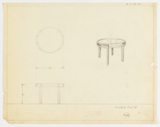 Perspective, plan, and elevation drawing for small round end table. Glass (?) top of table sunken, with raised wooden (?) edge surrounding glass; surface of table probably a removable tray. Tray/surface in frame of table with four straight, rectilinear legs. Top of table has two handles at each side to lift out of frame.