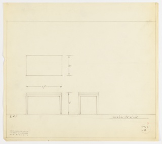 Plan and elevations for small end table; rectangular top, saber legs, decorative trim around legs and top of table.