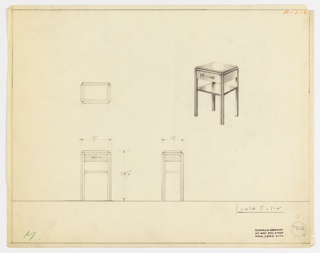 Perspective, plan, and elevation drawing for small bedside/end table. Top of table has reflective surface, either polished wood, lacquer or glass; rounded edges around table. Wooden base of end table with one drawer below top of table and one open shelf below. Horizontal tubular drawer pull on drawer.