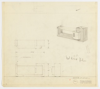 Perspective, plan, and elevation drawing for long rectangular vanity. Glass top with rounded front corners on top of wooden U-shaped, rectangular base. Cabinet on lower right of vanity with rounded outer surface and vertical rectangular drawer pull. Right side of vanity higher than glass surface at left; square surface with glass at center.