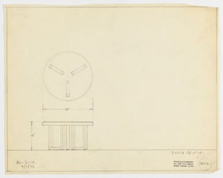 Plan and elevation drawing of round end table. Table has three legs in U-shape that attach from middle and reach outer edge.