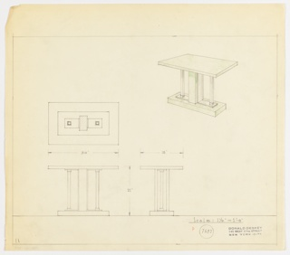Perspective, plan, and elevation drawing for green lacquered console table. Rectangular top of table supported by green lacquered pedestal and two squared at center, and two tubular metal legs on each side. Small rectangular base in green lacquer.