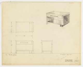 Perspective, plan, and elevation drawing for small rectangular end table with surface in two types of wood. Left side of table is drawer at center and left leg. Right side is leg and lower shelf, foot.