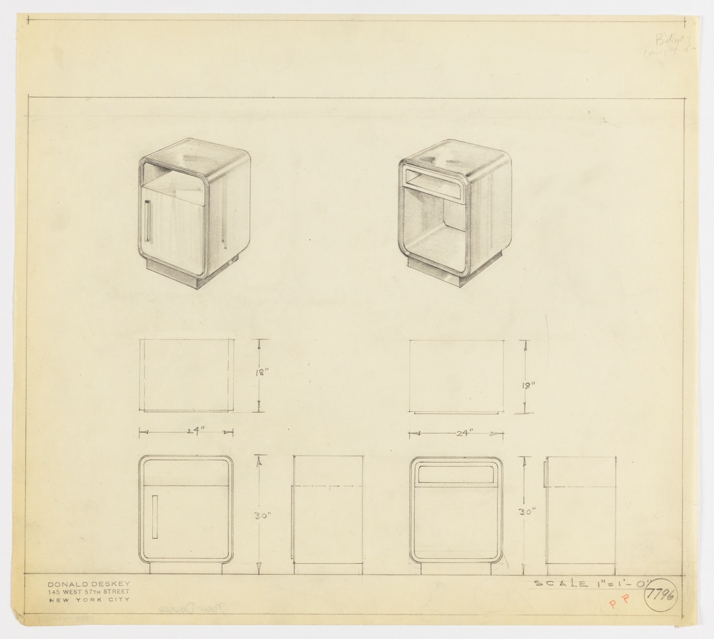 Perspective, plan, and elevation drawings for two versions of an end table. Table on left with open shelf at top, large cabinet door below; rectangular overall shape with rounded edges. Table on right with open shelf at top and larger open shelf below; rectangular overall shape with rounded edges. Both tables probably different types of wood.