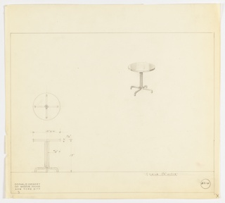 Perspective, plan, and elevation drawing for small round end table. Reflective surface of table either polished wood, lacquer, or Bakelite. Single pedestal stand extends at bottom into four legs of tubular metal.