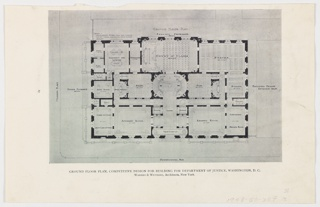Reproduction, Ground Floor Plan, Competitive Design for Building for Department of Justice, Washington, D.C.
