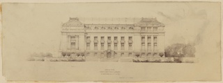 Print, Design for New York Public Library Elevation