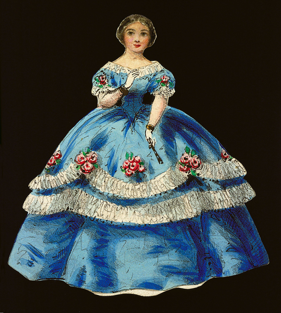 Sapphire blue dress with white trim at the neckline, and white garlands, accompanied by pink roses on the full skirt. Both back and front of this paper doll outfit are rendered.