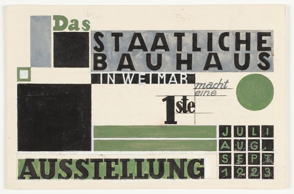 Design For Postcard, Das Staatliches Bauhaus in Weimar Macht Eine 1ste Ausstellung (State Bauhaus in Weimar Makes a First Exhibition)
