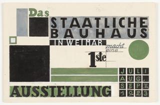 Design For Postcard, Das Staatliches Bauhaus in Weimar Macht Eine 1ste Ausstellung (State Bauhaus in Weimar Makes a First Exhibition), 1923