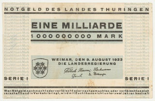 Banknote, Eine Milliarde (One Billion), 1923