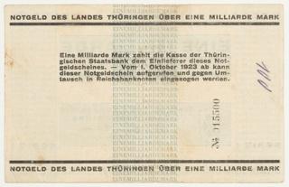 Banknote, Eine Milliarde (One Billion), 1923