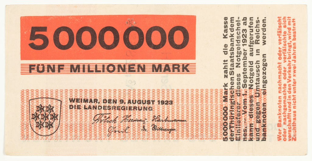 Banknote, 5000000, 1923