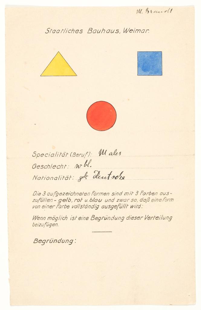 Questionnaire, Staatliches Bauhaus Weimar (State Bauhaus Weimar), 1923