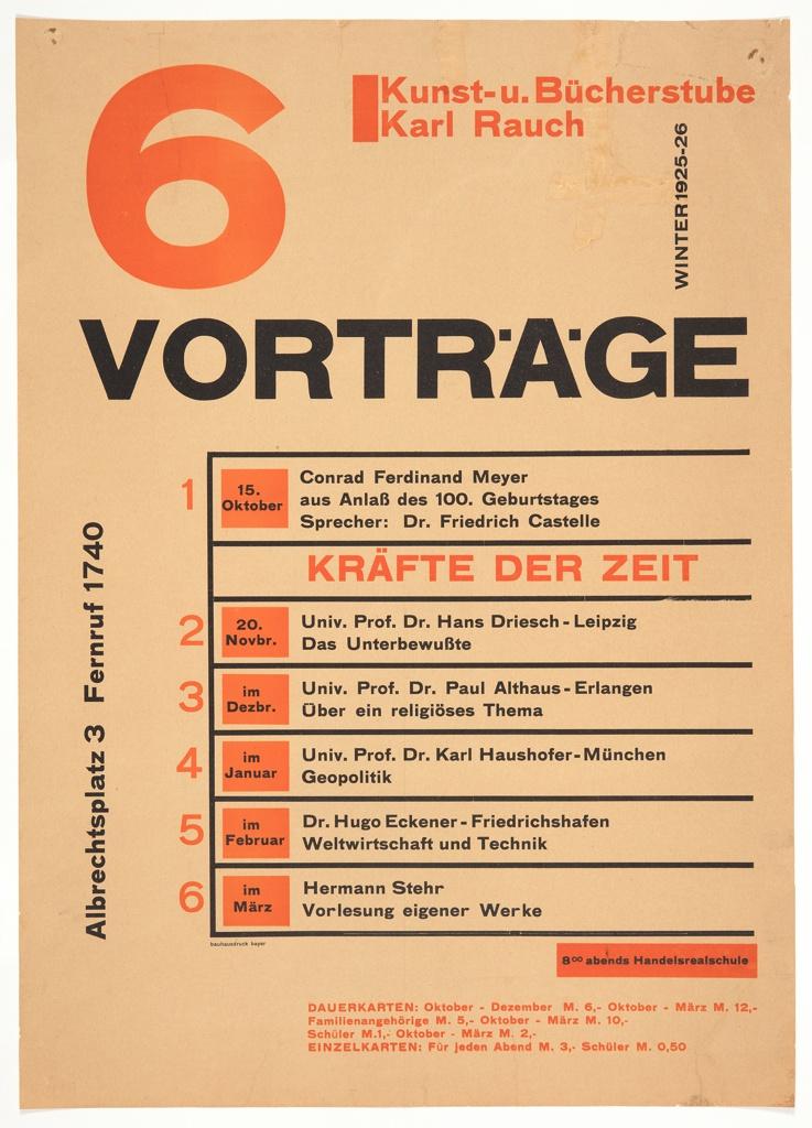 Poster, Kunst- u. Bücherstube Karl Rauch: 6 Vorträge (Art and Book Shop Karl Rauch: 6 Lectures)