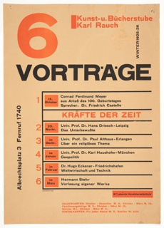 Poster, Kunst- u. Bücherstube Karl Rauch: 6 Vorträge (Art and Book Shop Karl Rauch: 6 Lectures), 1925