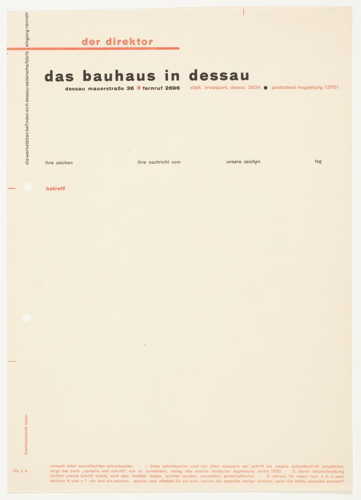 Letterhead, Der Direktor, Das Bauhaus in Dessau