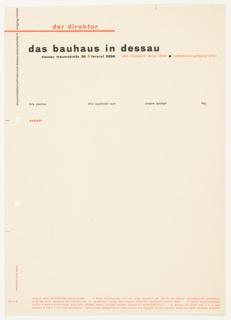 Letterhead, Der Direktor, Das Bauhaus in Dessau, 1925