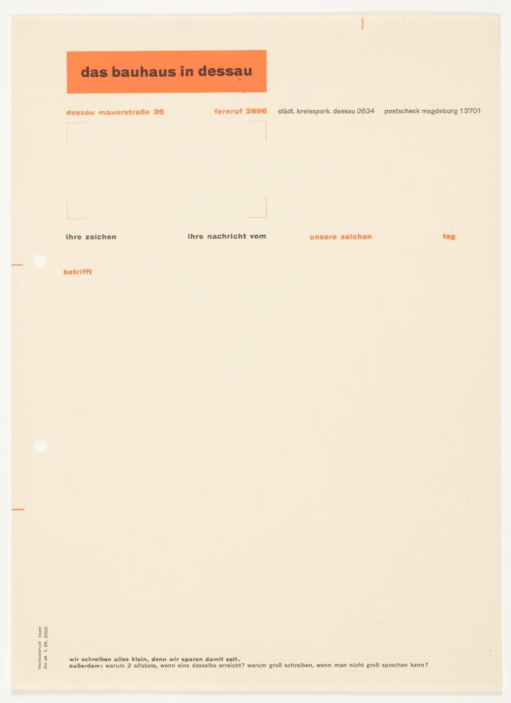 Letterhead, Das Bauhaus in Dessau