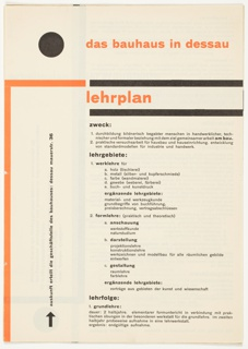 Prospectus (cover), Das Bauhaus in Dessau: Lehrplan (The Bauhaus in Dessau: Curriculum), 1925
