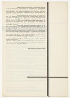 Prospectus (cover), Das Bauhaus in Dessau: Lehrplan (The Bauhaus in Dessau: Curriculum)