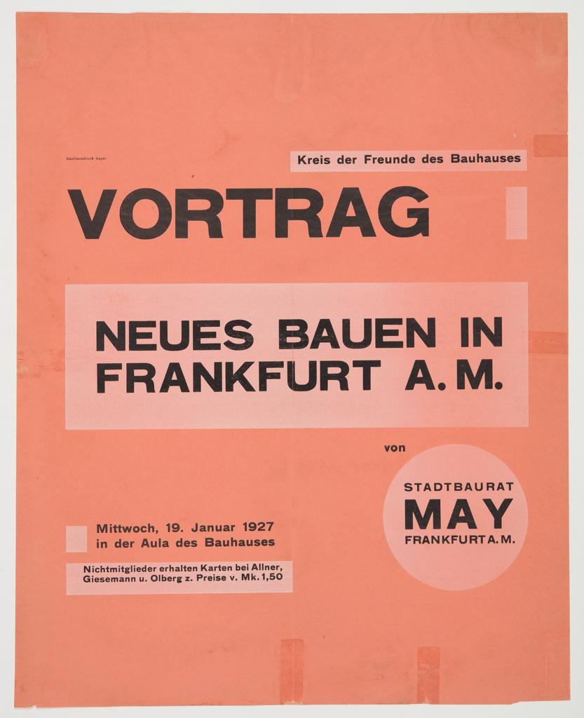 Poster, Vortrag: Neues Bauen in Frankfurt a.M (Lecture: New Architecture in Frankfurt am Main)