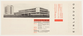 Invitation, Einladung (Invitation): Bauhaus Dessau, 1926