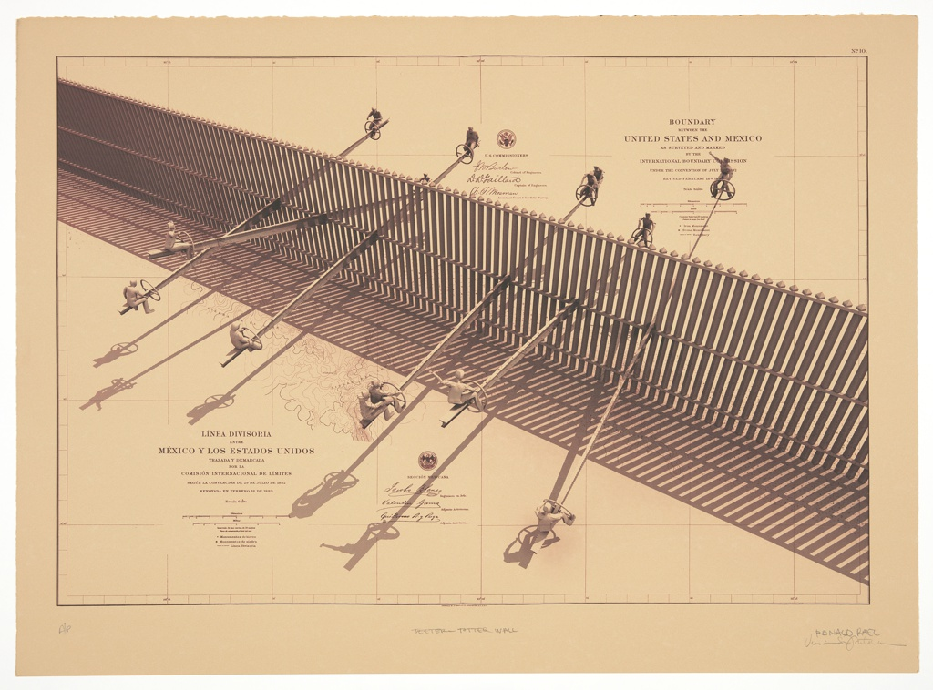 Digital rendering of imagined use for extant wall on the boundary of Mexico and the United States. On a gridded plane, the wall runs diagonally from lower right to upper left, seen from above. The wall appears as a high, slatted fence, through which six teeter-totters run, with figures on each end of the teeter-totter. In one case, a single teeter-totter supports two pairs of riders. At lower left, in a serif typeface, 'LINEA DIVISORIA ENTRE MÉXICO Y LOS ESTADOS UNIDOS TRAZABA Y DEMARCADA POR LA COMISIÓN INTERNACIONAL DE LIMITES…' Beneath, a key to scale. To the right, the seal of Sección Mexicana. On the other side of the wall, somewhat obscured by a rider, the text is translated into English, partially obscured by trees and walkway: 'BOUNDARY BETWEEN THE UNITED STATES AND MEXICO AS SURVEYED AND MARKED BY THE INTERNATIONAL BOUNDARY COMMISSION...' Beneath, a key to scale. To the left, the seal of the United States Commissioners, with three signatures below.