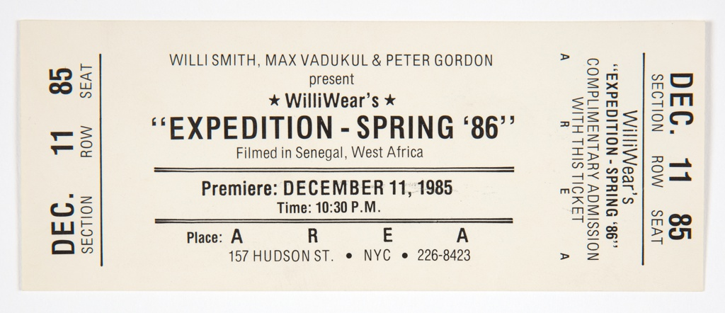 Film Screening Ticket, AREA, New York