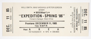 Film Screening Ticket, AREA, New York
