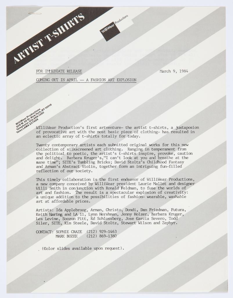 Artist T-shirt Press Kit And Publicity Photographs