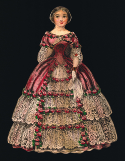 Print, Paper Doll Costume in Dark Pink and Light Pink Ruffles
