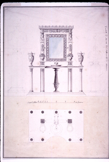 Elevation and plan of a washstand with mirror.  On either side are two pedestals each with a ceramic vase and an amphora sitting on top.