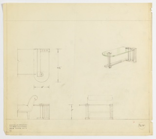Perspective, plan, and elevation drawing for vanity and partial view of side chair. Table has glass surface, rounded left side, and squared right side. Tubular metal leg on left, supported by metal base and three tubular metal supports on right side. Partial view of upholstered side chair with back facing vanity.