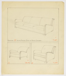 Drawing, Sofa, Armchairs, 1930–1935