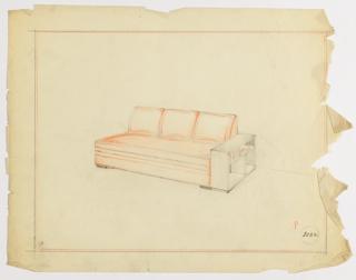 Drawing, Sofa and Bookshelf