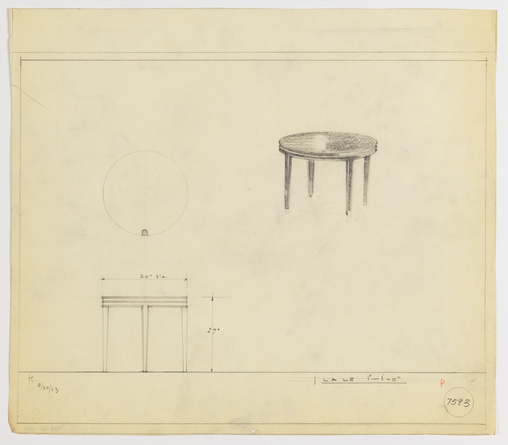 Drawing, End Table, Round